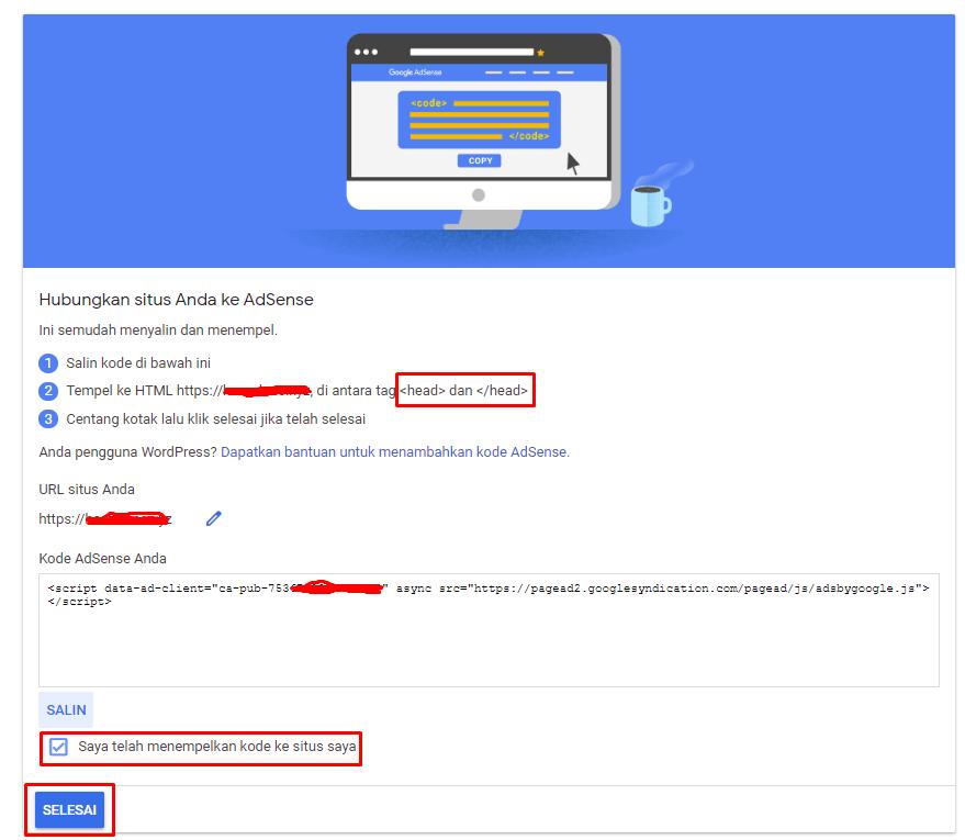 Pasang kode iklan google adsense di website