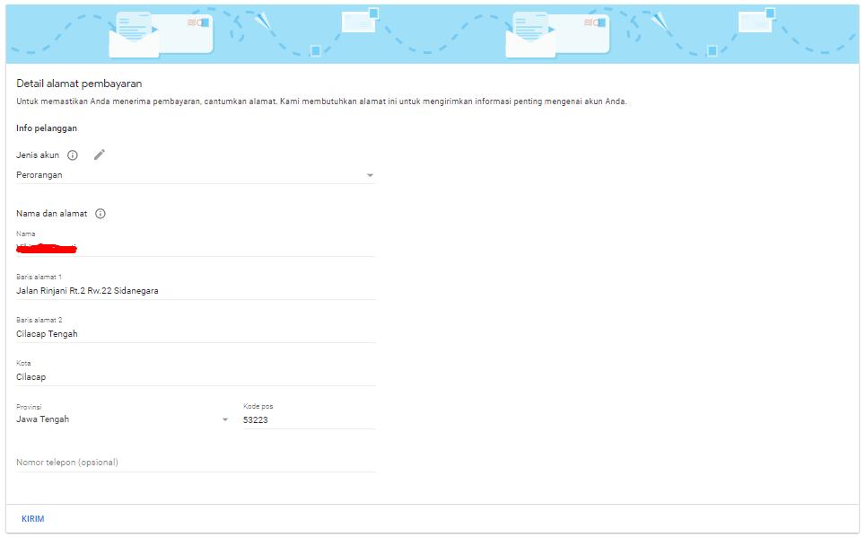 isi biodata untuk pendaftaran google adsense