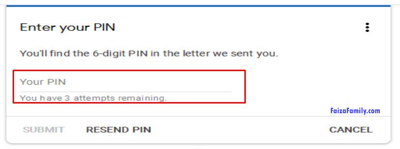 enter pin google adsense